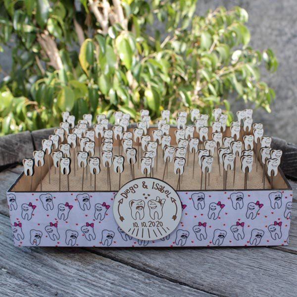 Caja Presentación para alfileres de madera dientes